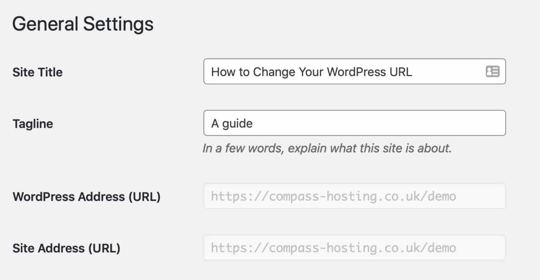 Allgemeine Einstellungen URL ausgegraut
