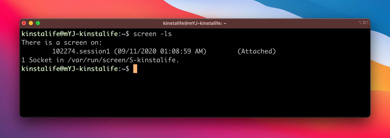 Auflisten der Bildschirmsitzungen im Terminal