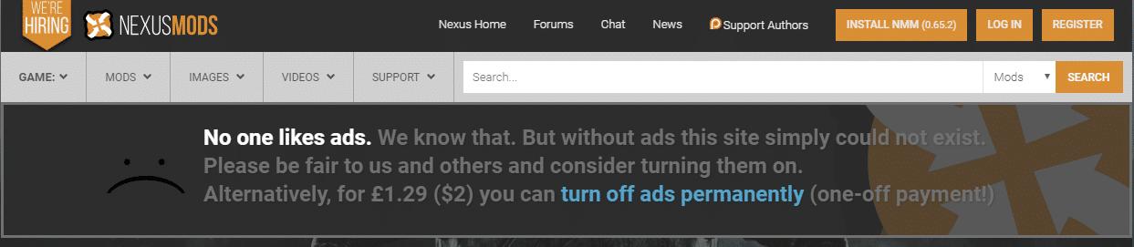 Bitte darum, Werbung abzuschalten