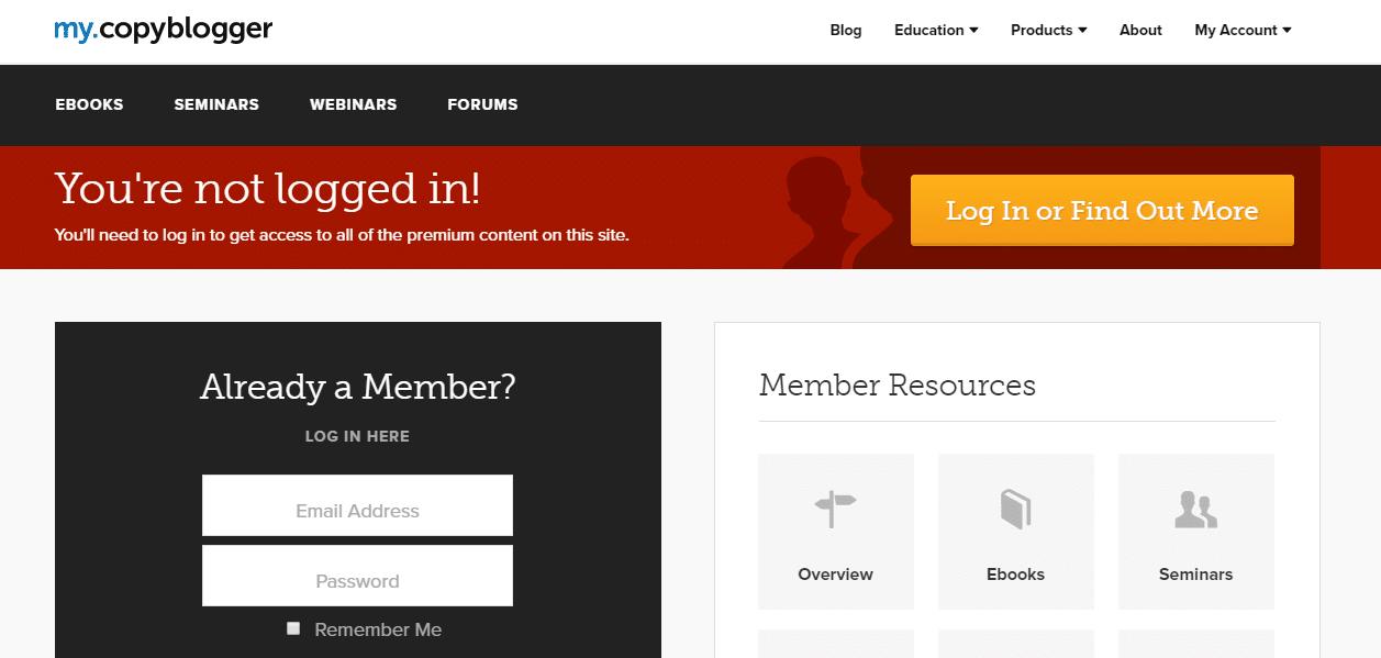 Copyblogger-Mitgliedsseite