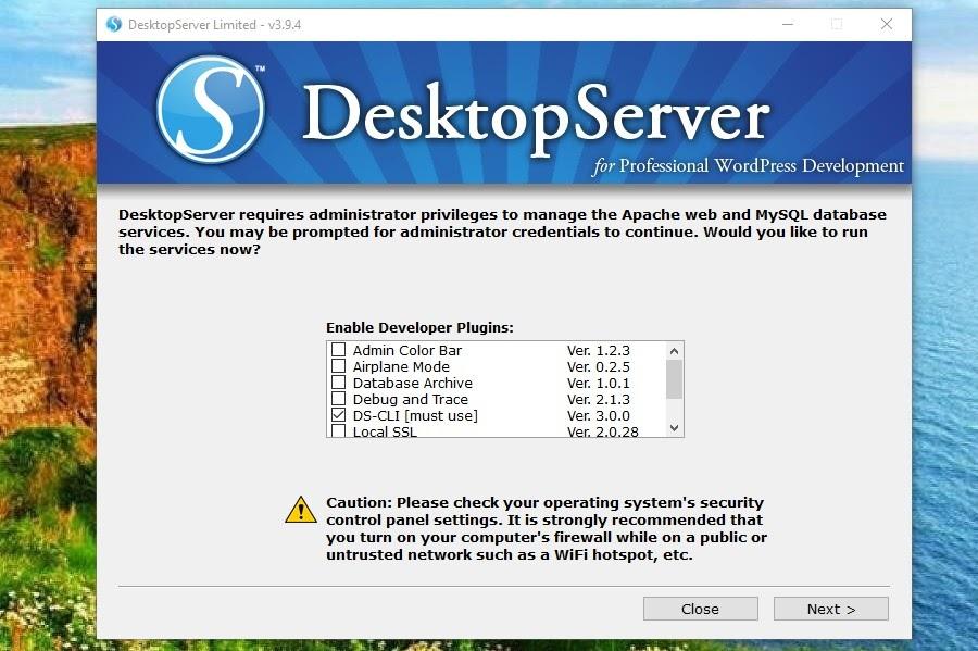 Der DesktopServer-Entwickler-Plugin-Bildschirm