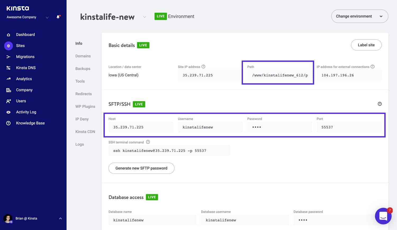 Finde deine SFTP Details in MyKinsta.
