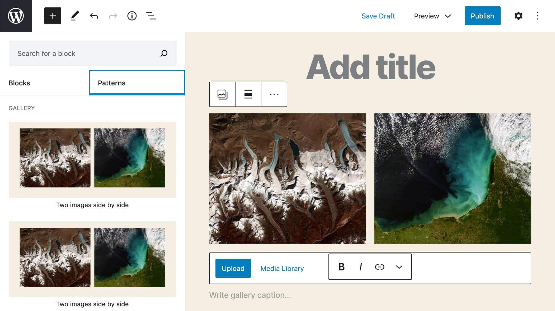 Das Galerie-Muster in WordPress 5.5