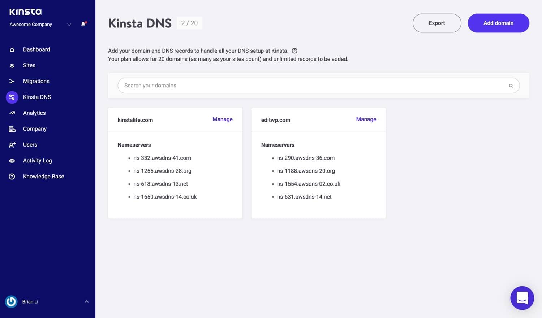 Kinsta DNS