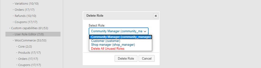 Nicht zugewiesene Benutzerrollen einfach löschen