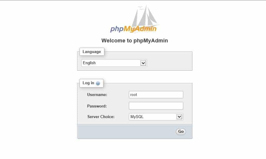 Die phpMyAdmin Anmeldeseite