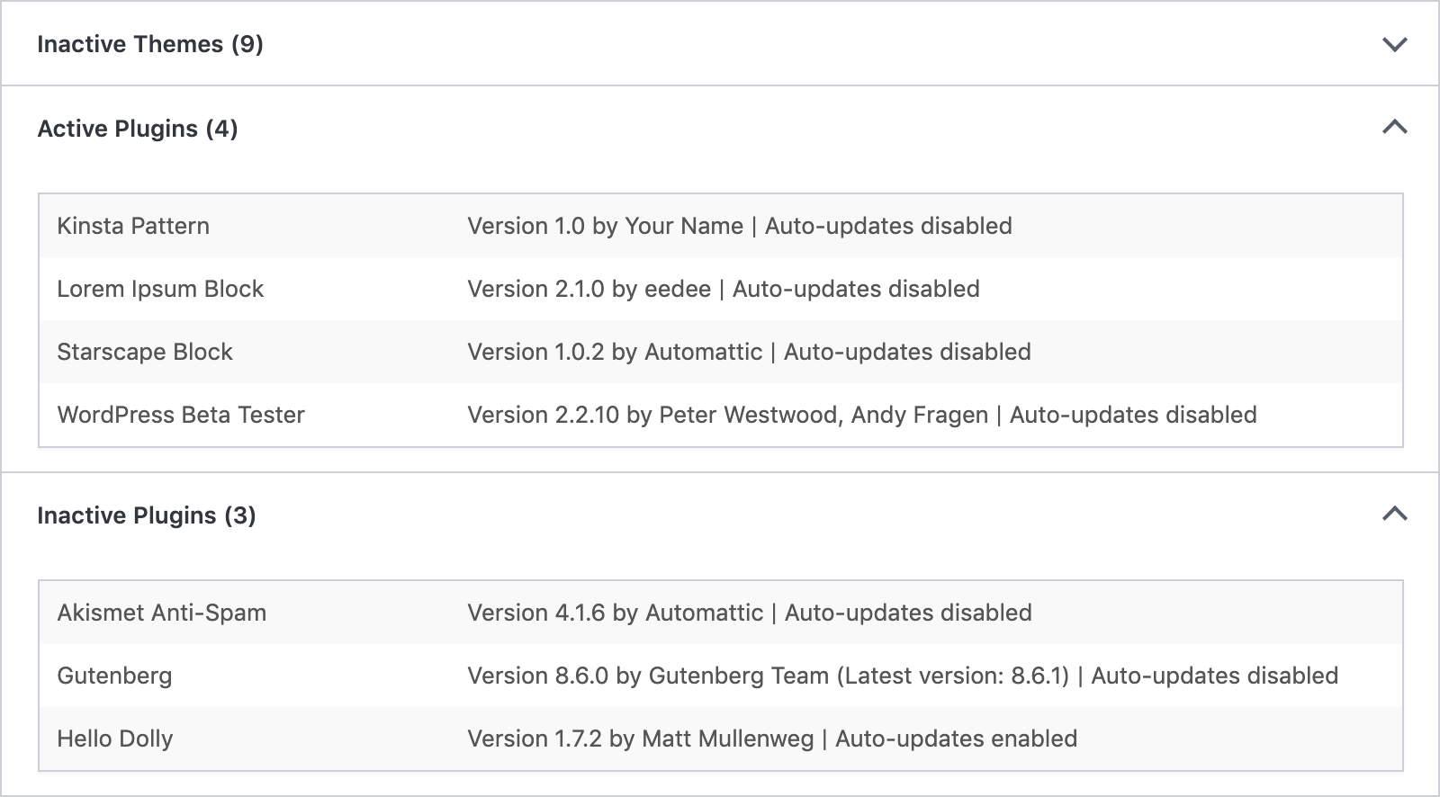 """Die Registerkarte """"Site Health Info"""" der Webseite zeigt den Status der automatischen Plugin- und Theme-Auto-Updates"""