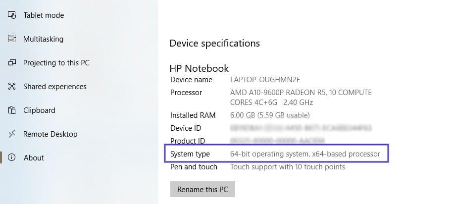 Die Seite mit den Gerätespezifikationen unter Windows