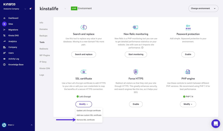 SSL-Zertifikat in MyKinsta entfernen.