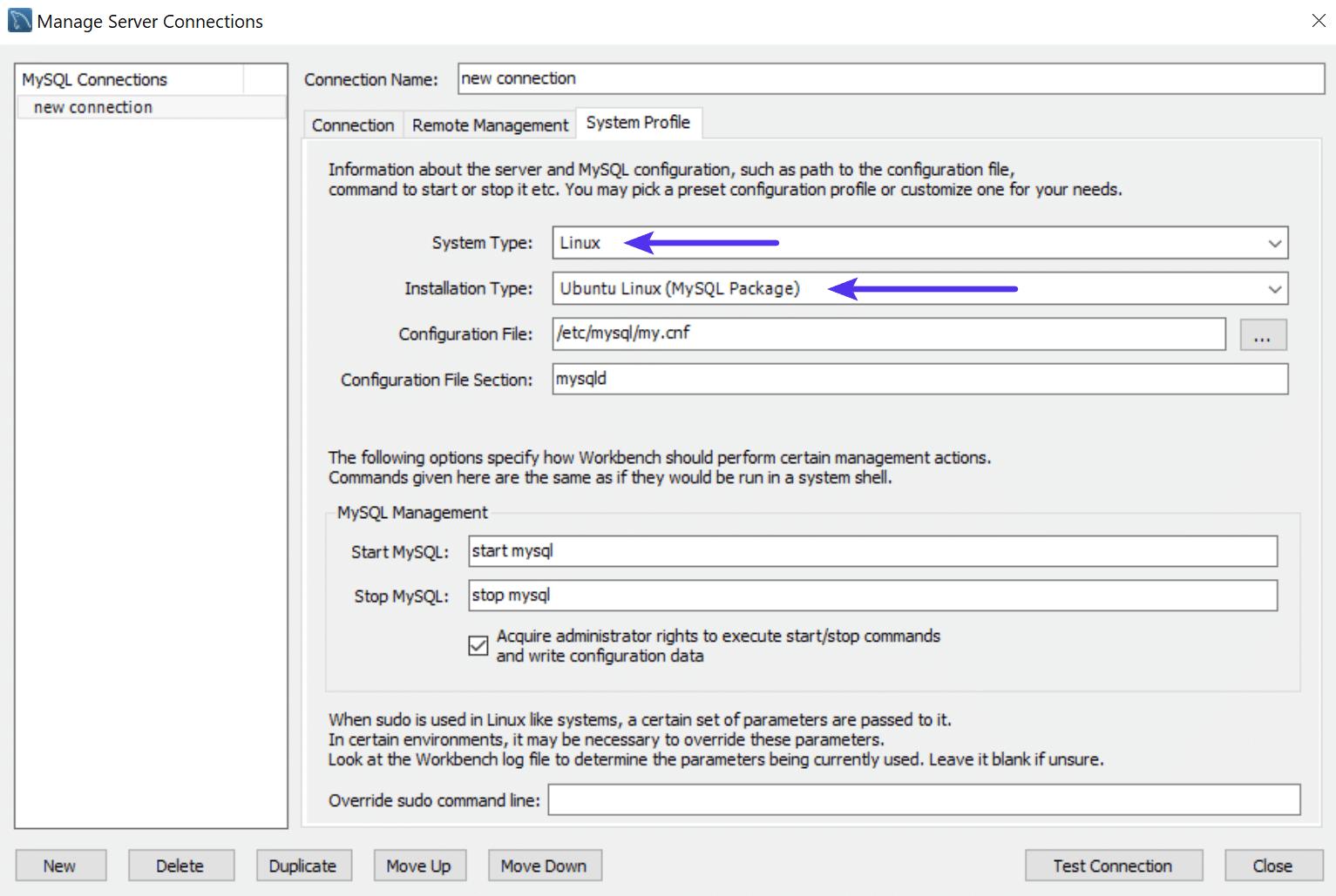 Systemprofil der MySQL Workbench