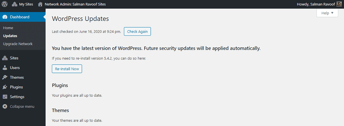 The 'Updates' panel in Network Admin dashboard