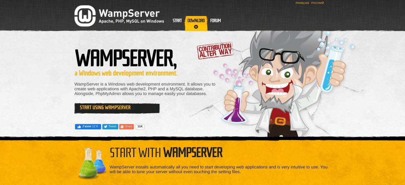 Die WampServer Webseite