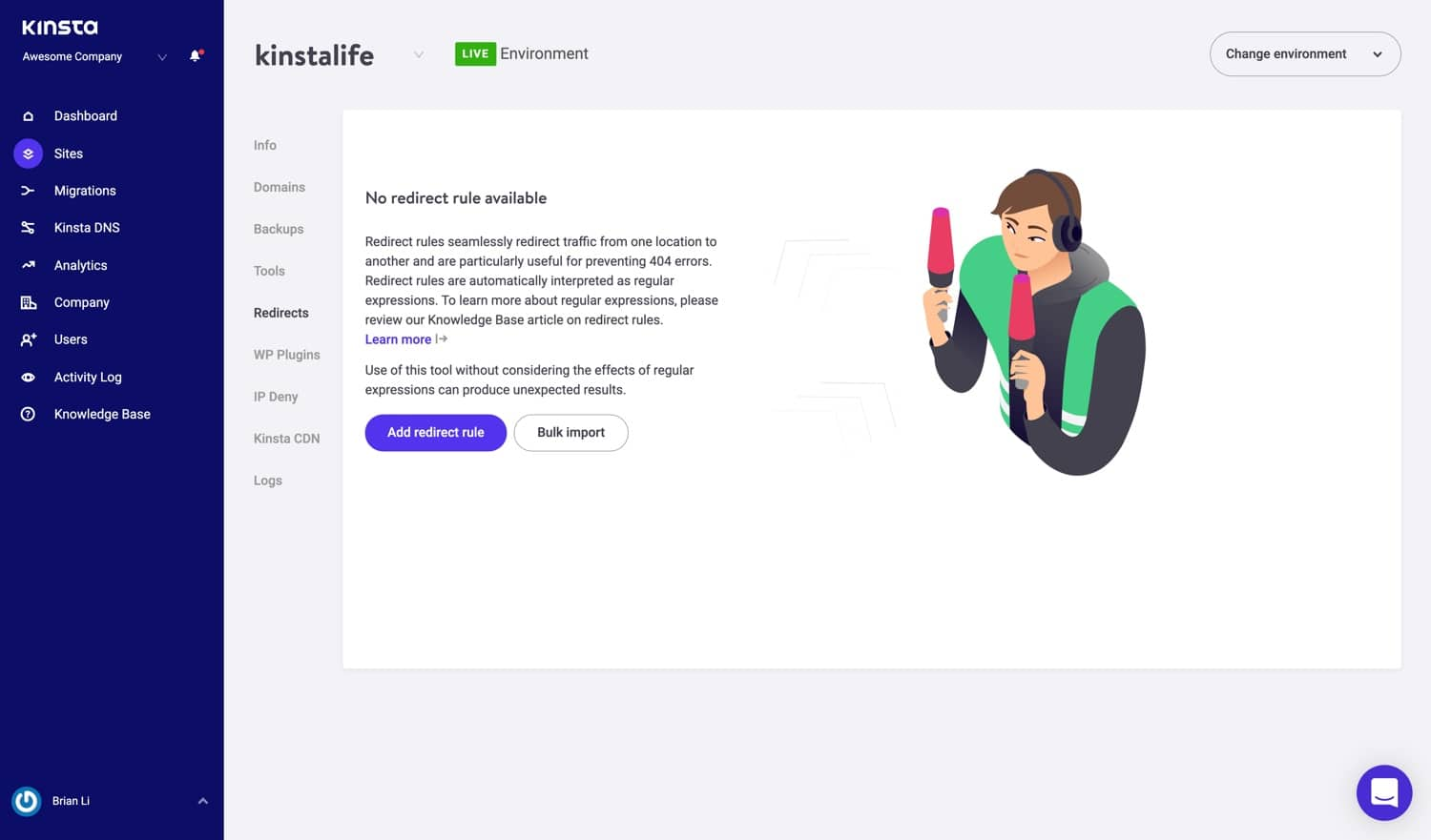 WordPress Umleitungstool in MyKinsta.