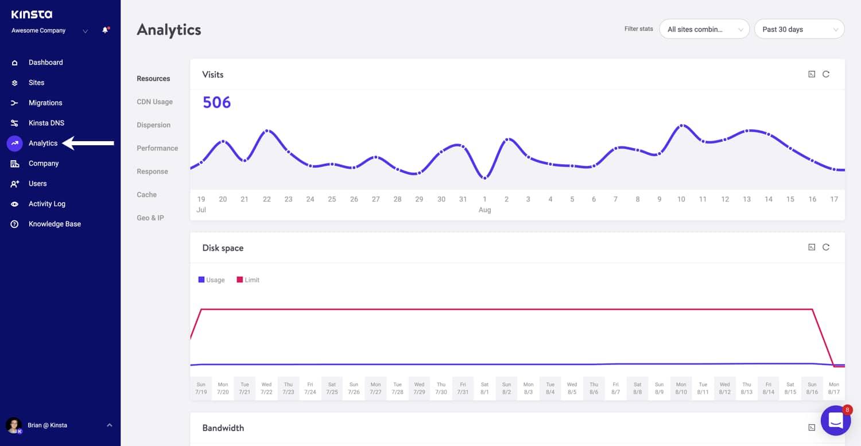 Zugang zu MyKinsta Analytics