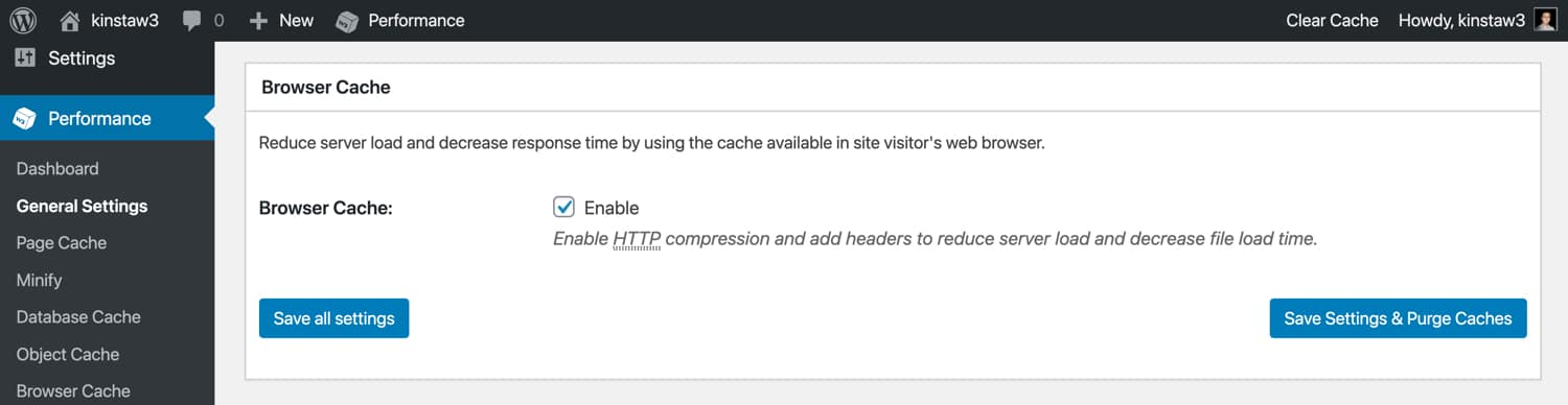 Aktiviere das Browser-Caching in W3 Total Cache.