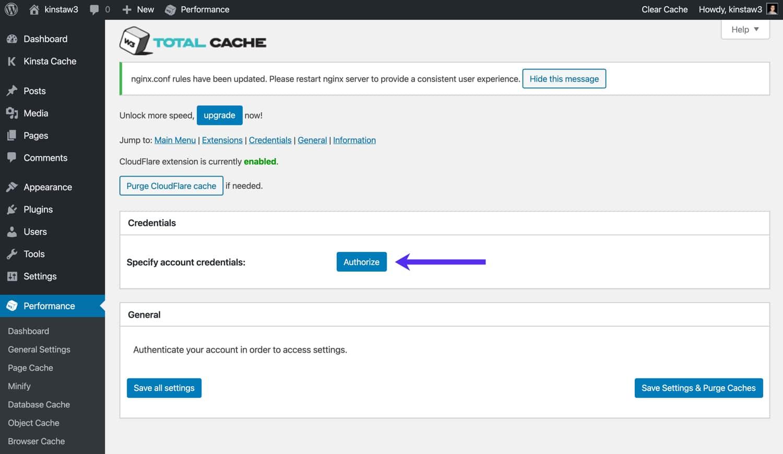 Autorisiere Cloudflare im W3 Total Cache.