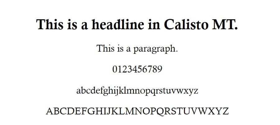 Calisto MT Schriftart Beispiel