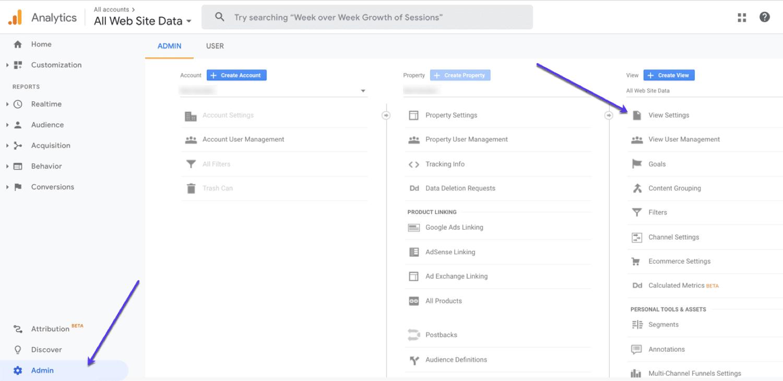 Einrichten einer ungefilterten Ansicht in Google Analytics
