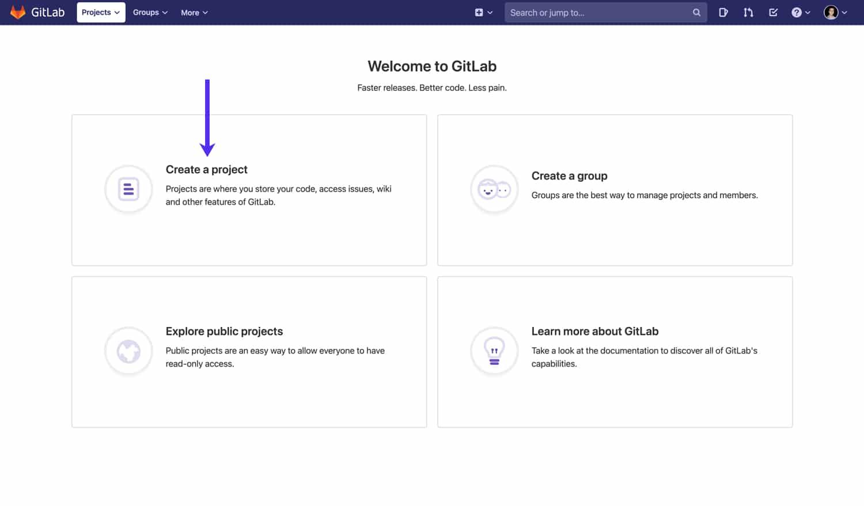Erstelle ein Projekt in GitLab.