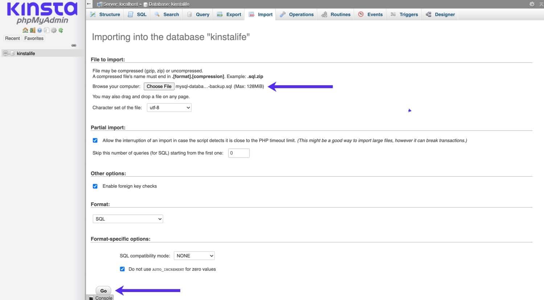 Import in die MySQL-Datenbank über phpMyAdmin.