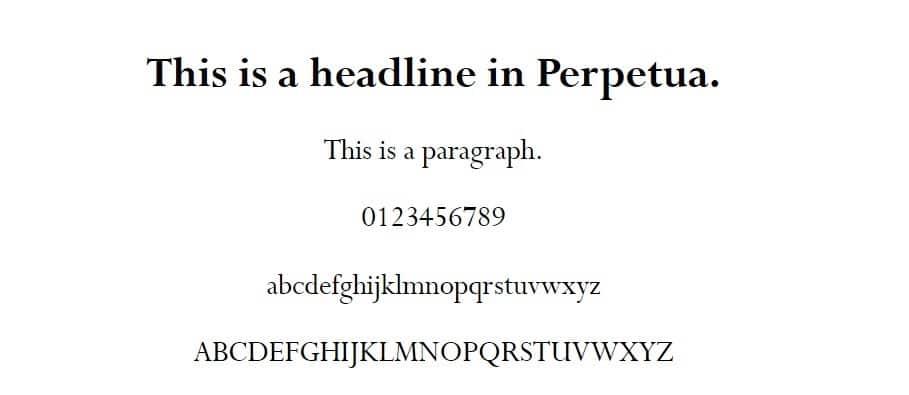 Beispiel einer Perpetua-Schriftart
