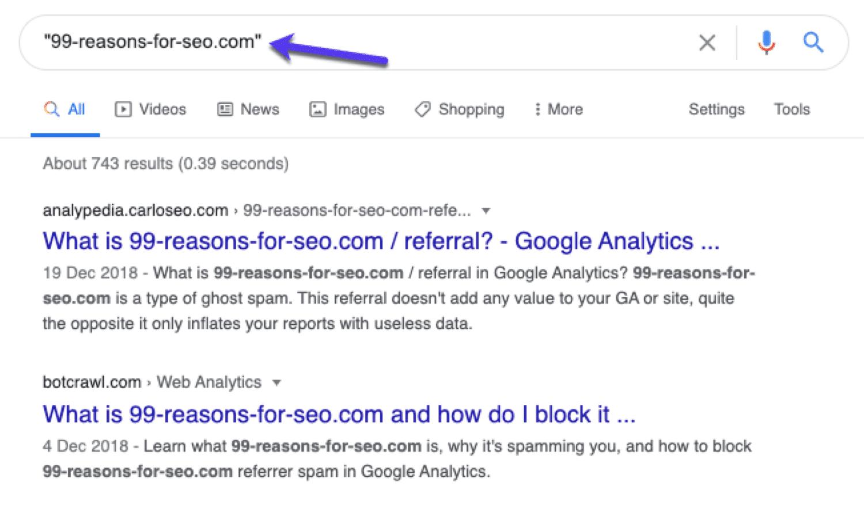 Suche in Google nach Spam-Referrer-Sites, um zu sehen, ob andere Webseiten diese bereits markiert haben.