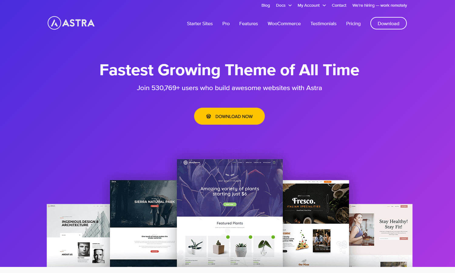 Astra WP screenshot
