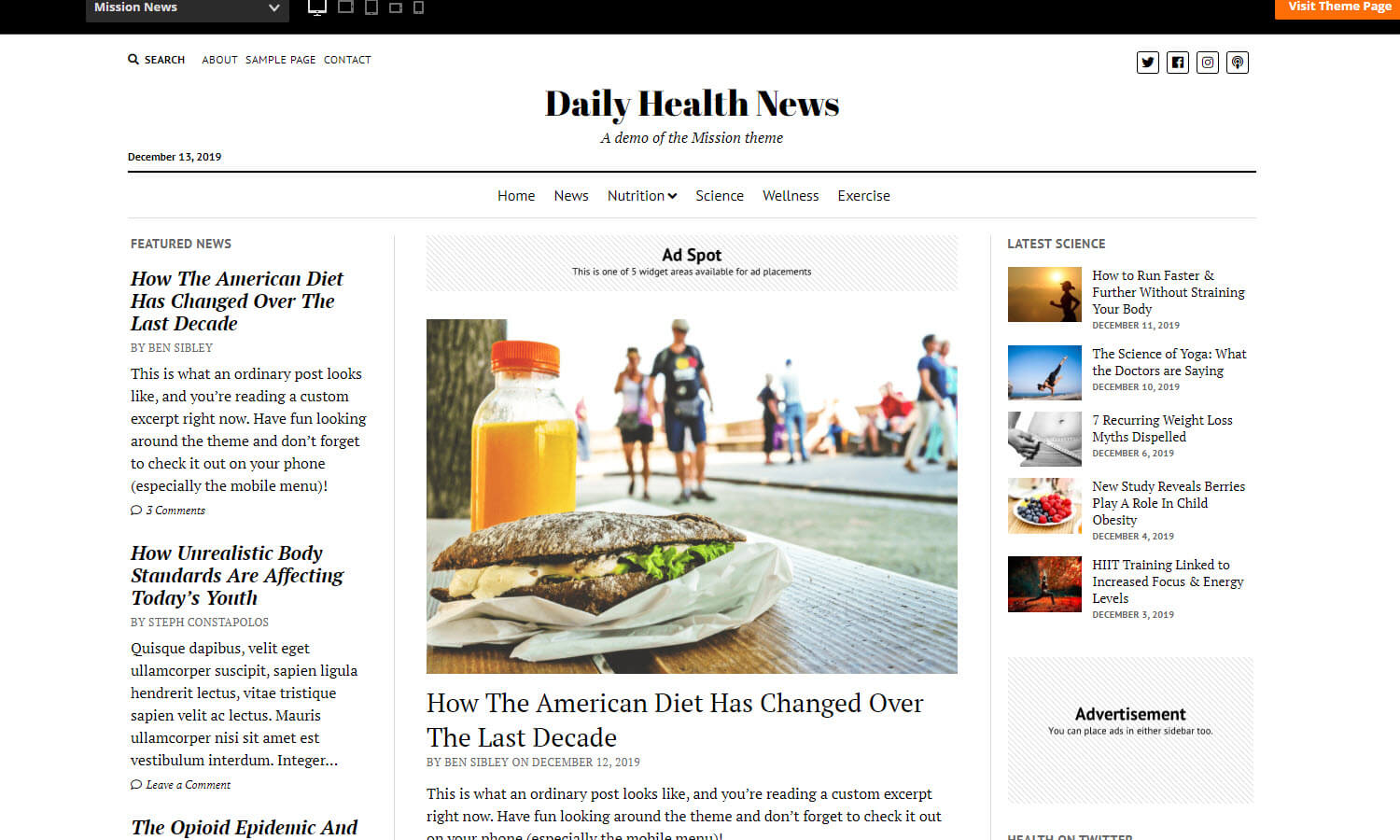 Mission News Theme screenshot