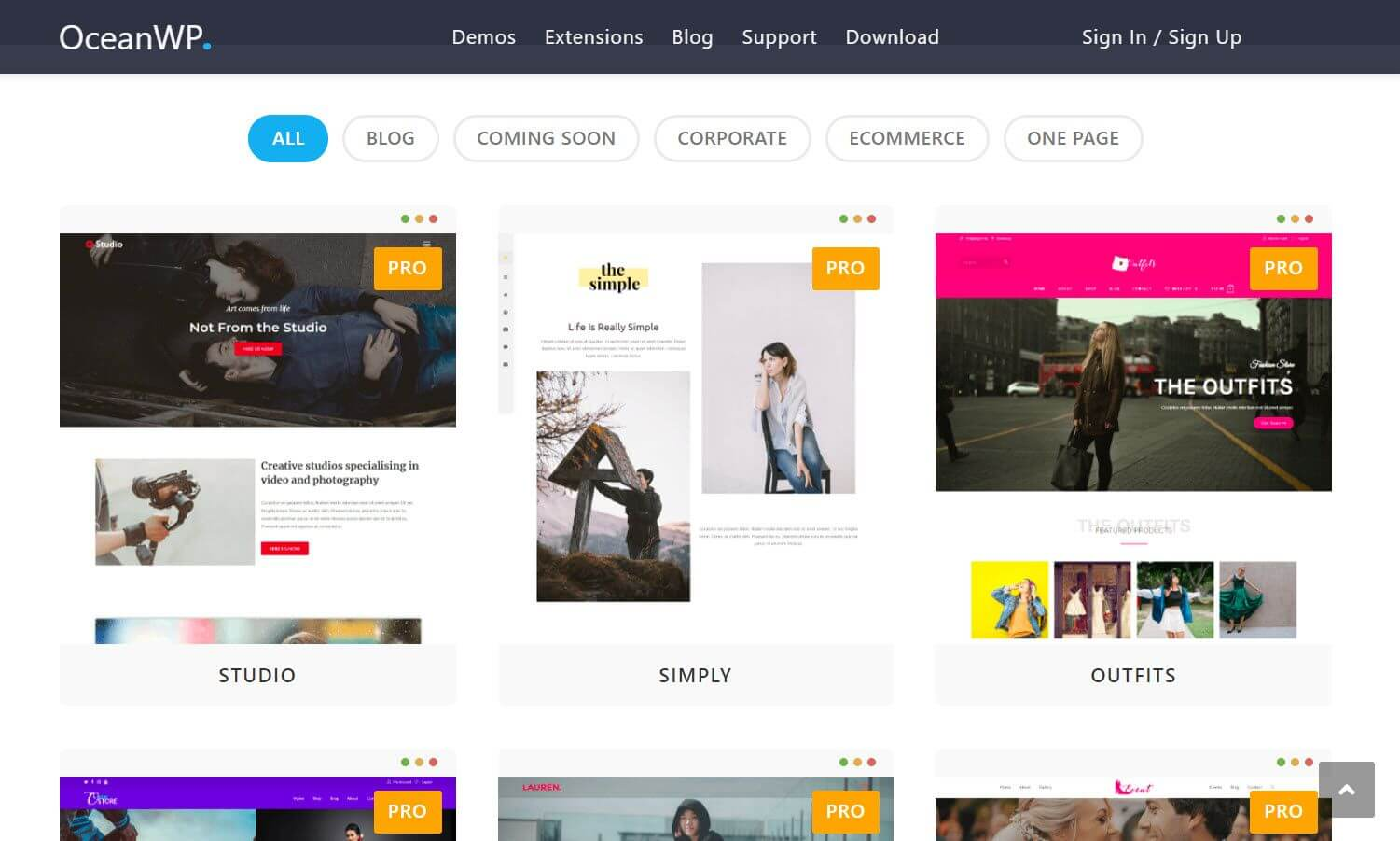 OceanWP screenshot