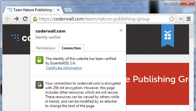 Advarsel om blandet indhold i Chrome