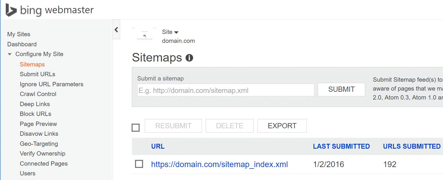 Bing Webmasterværktøjer HTTPS