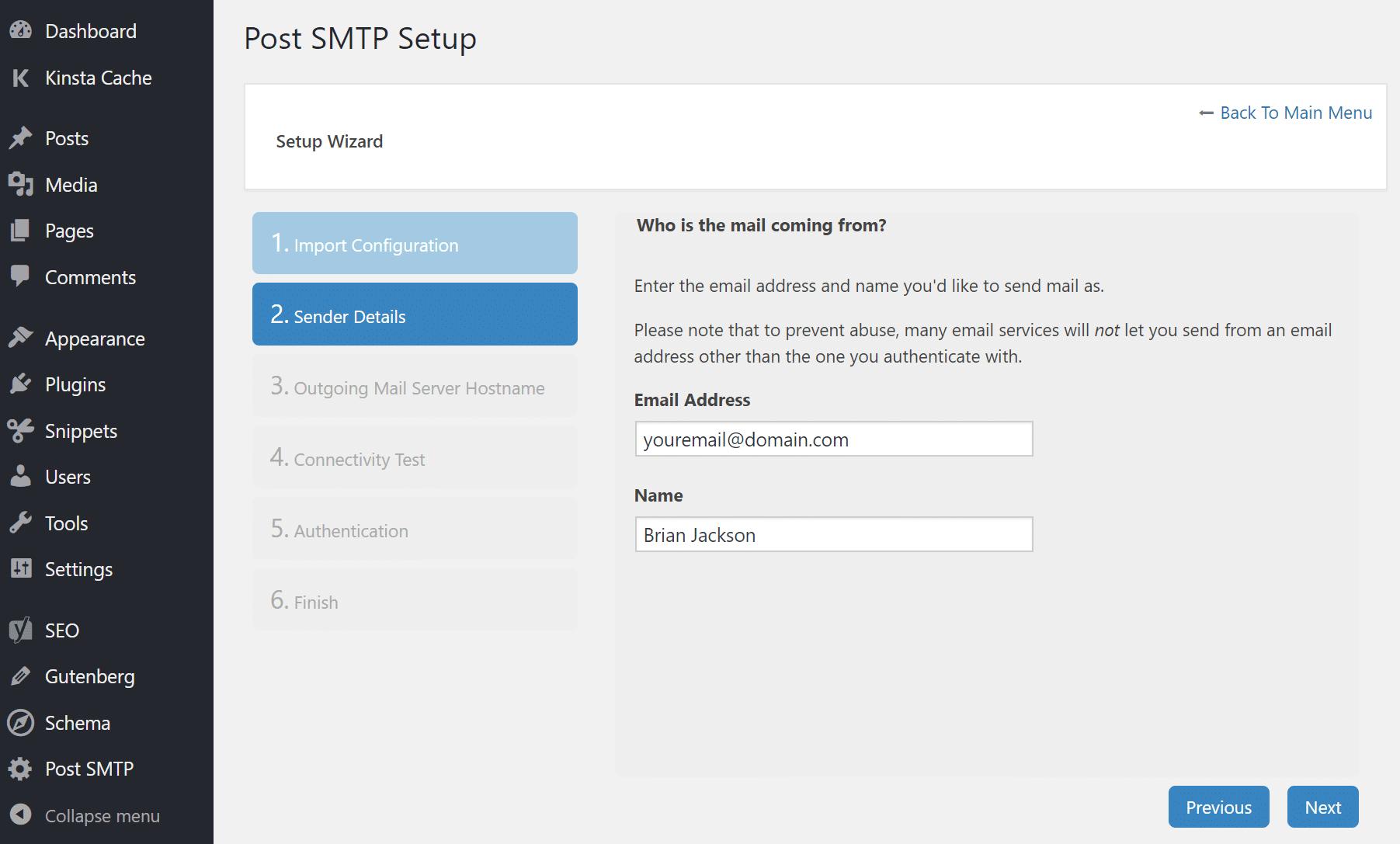 Post SMTP sender detaljer