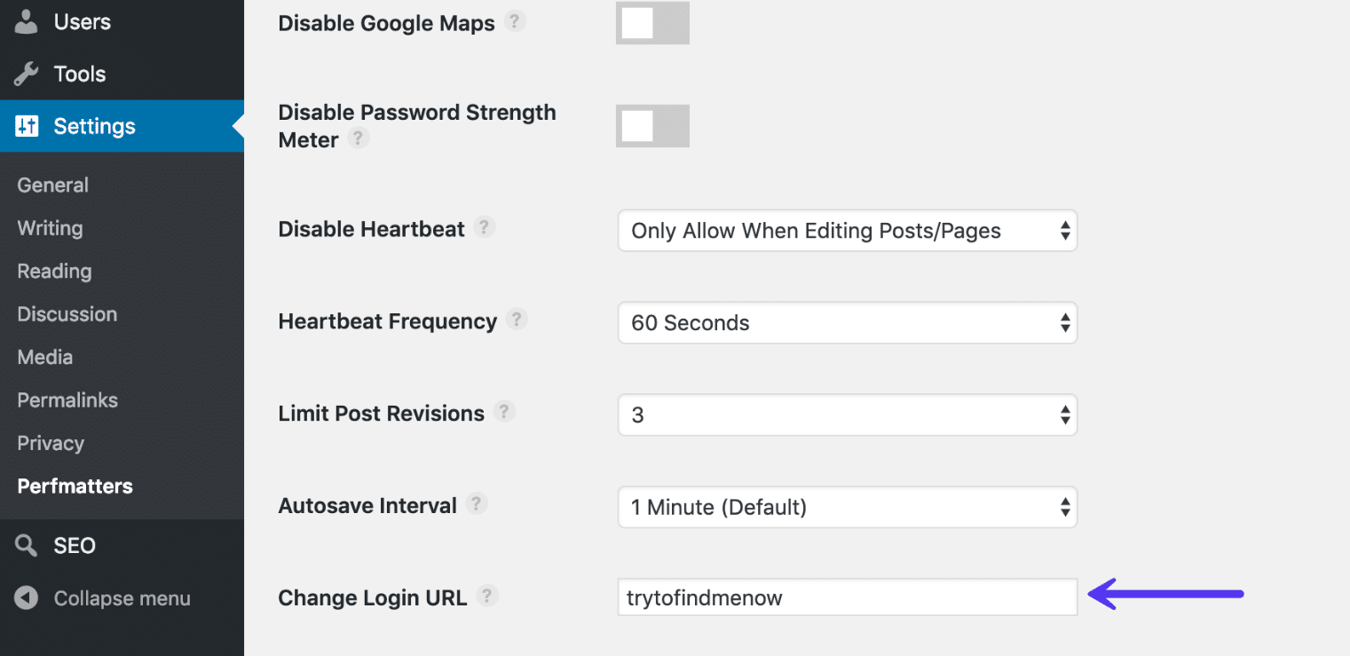 Skjul WordPress login URL med Perfmatters