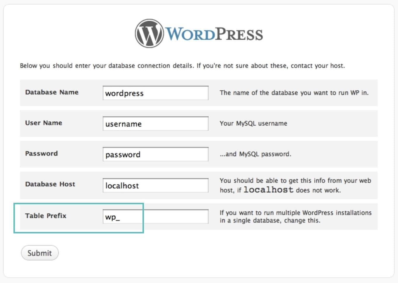 wordpress table prefix