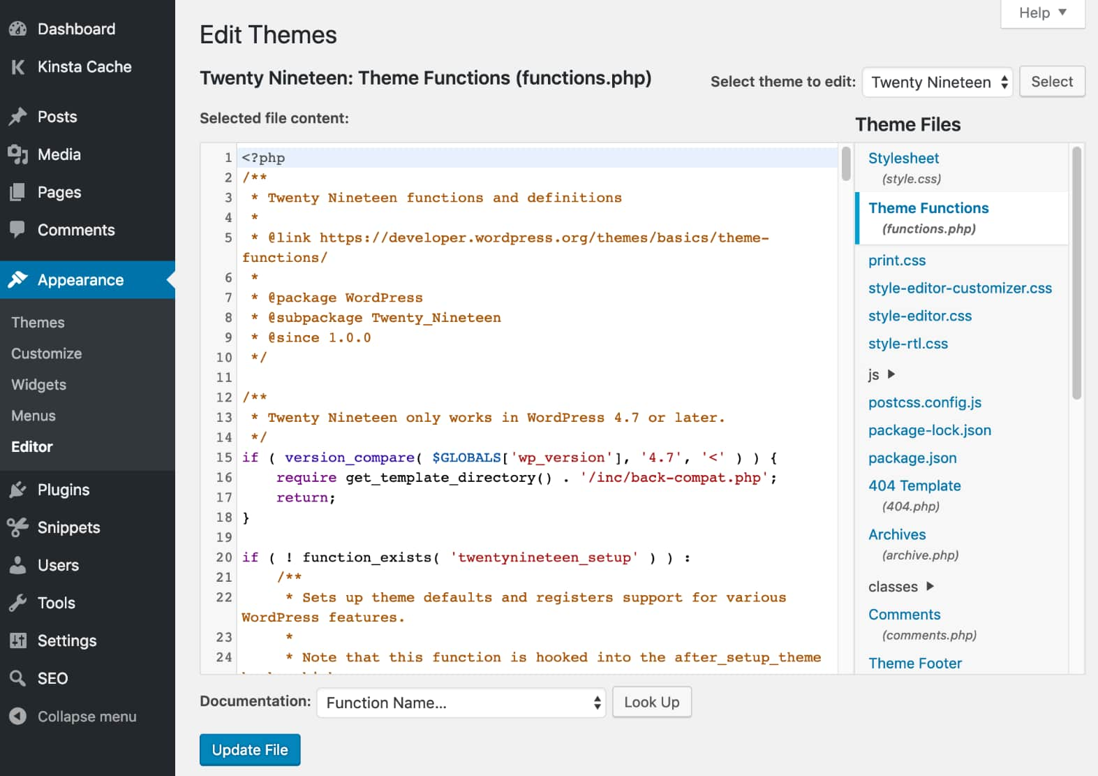 WordPress udseende editor