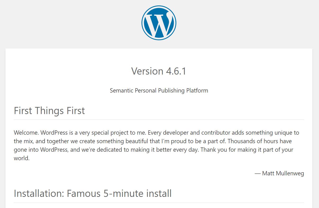 WordPress version i readme fil