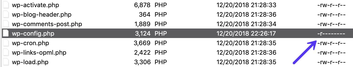 wp-config.php tilladelser