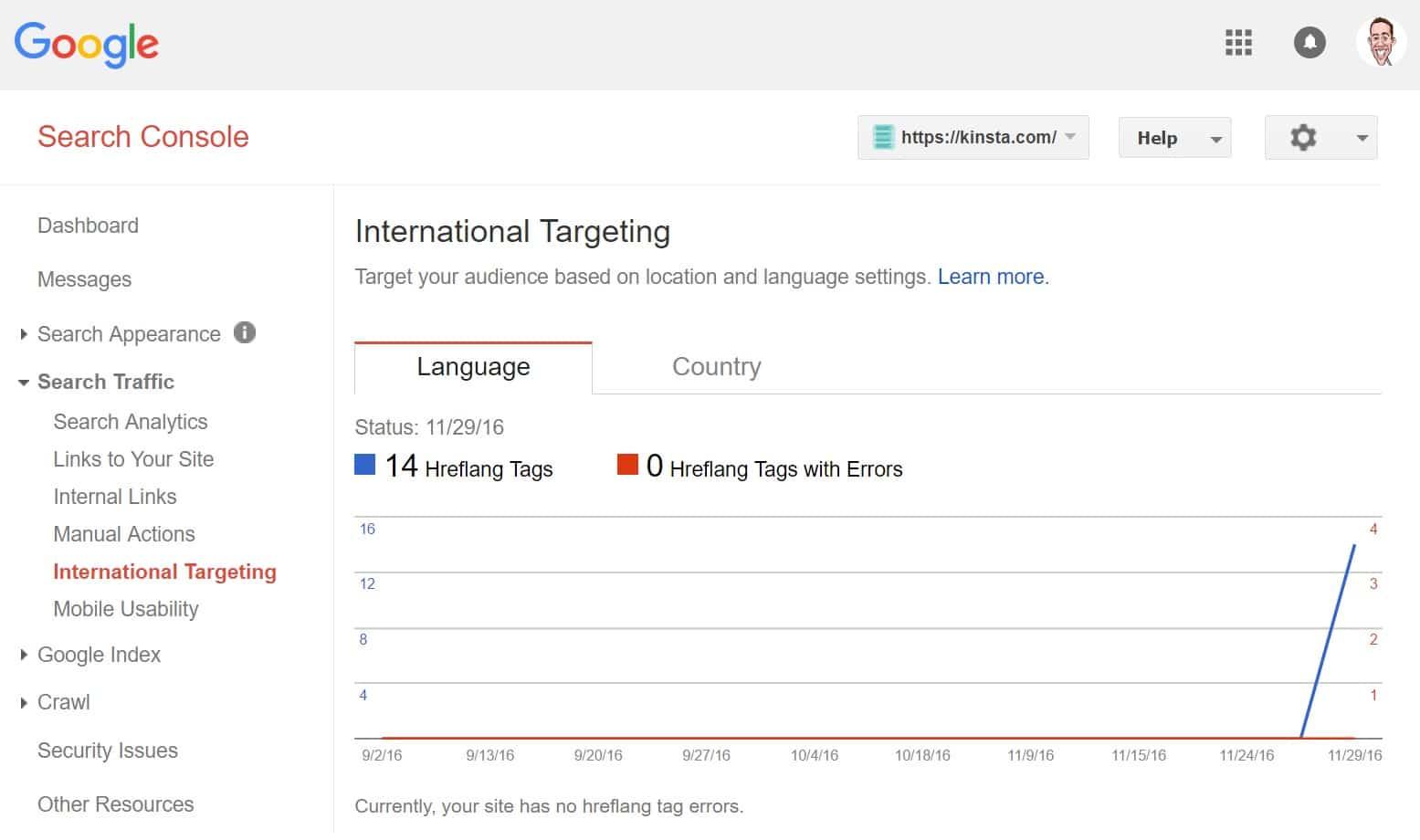 International målretning af Google Search Console