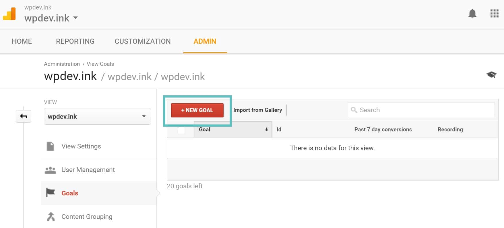 Nyt Mål i Google Analytics