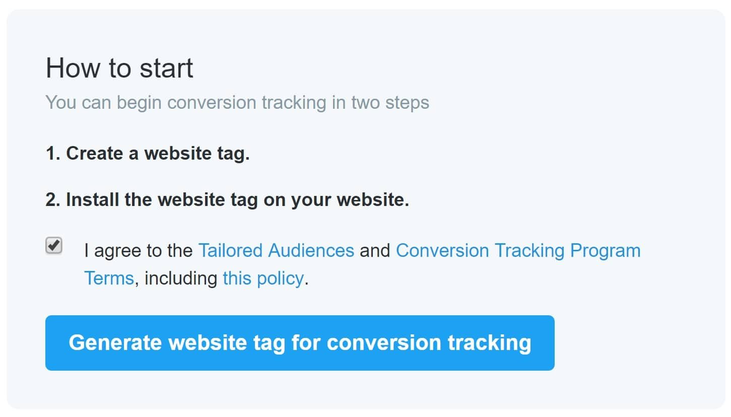 Opret Twitter website tag