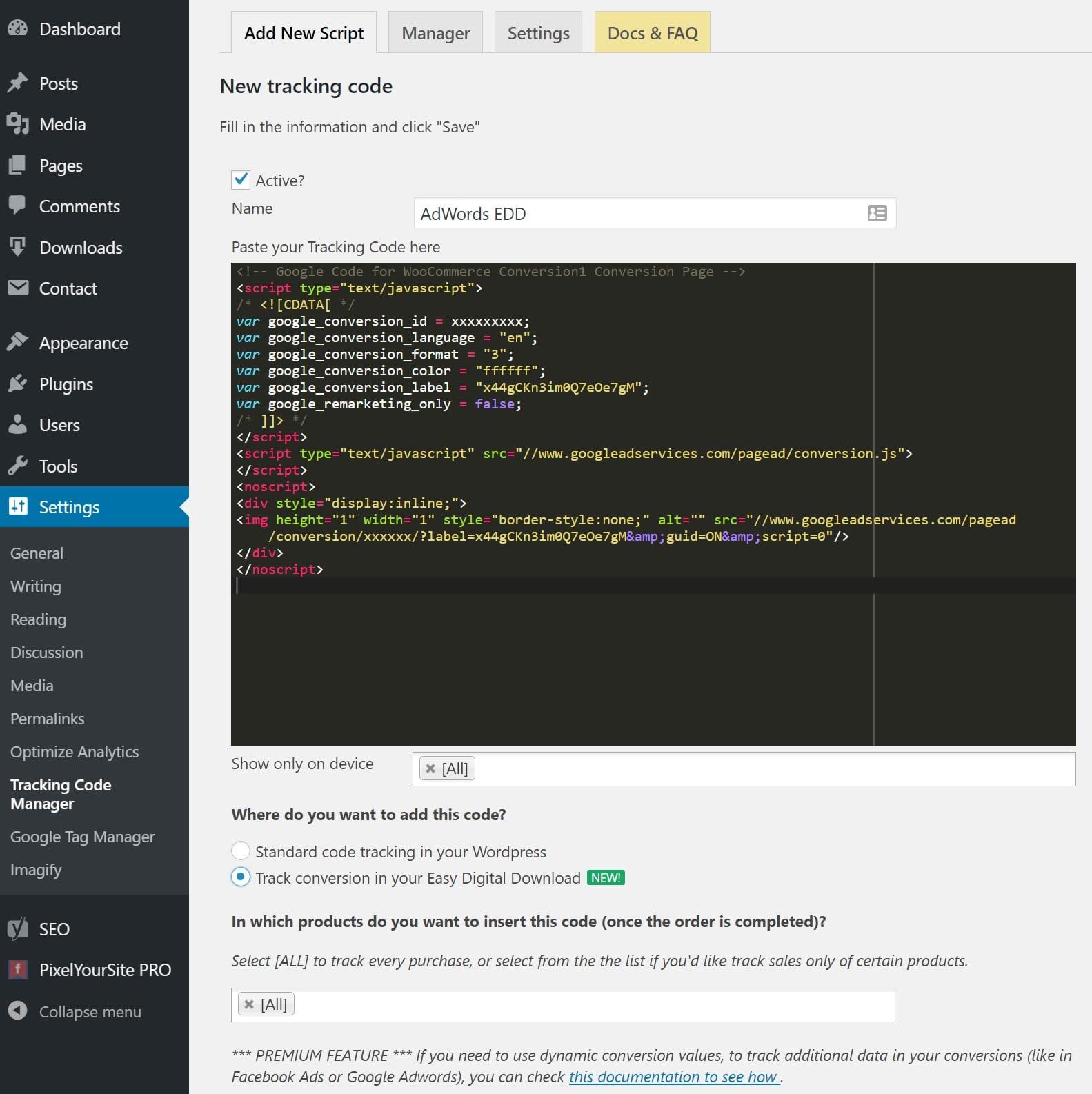 Tilføj AdWords Easy Digital Downloads pixel
