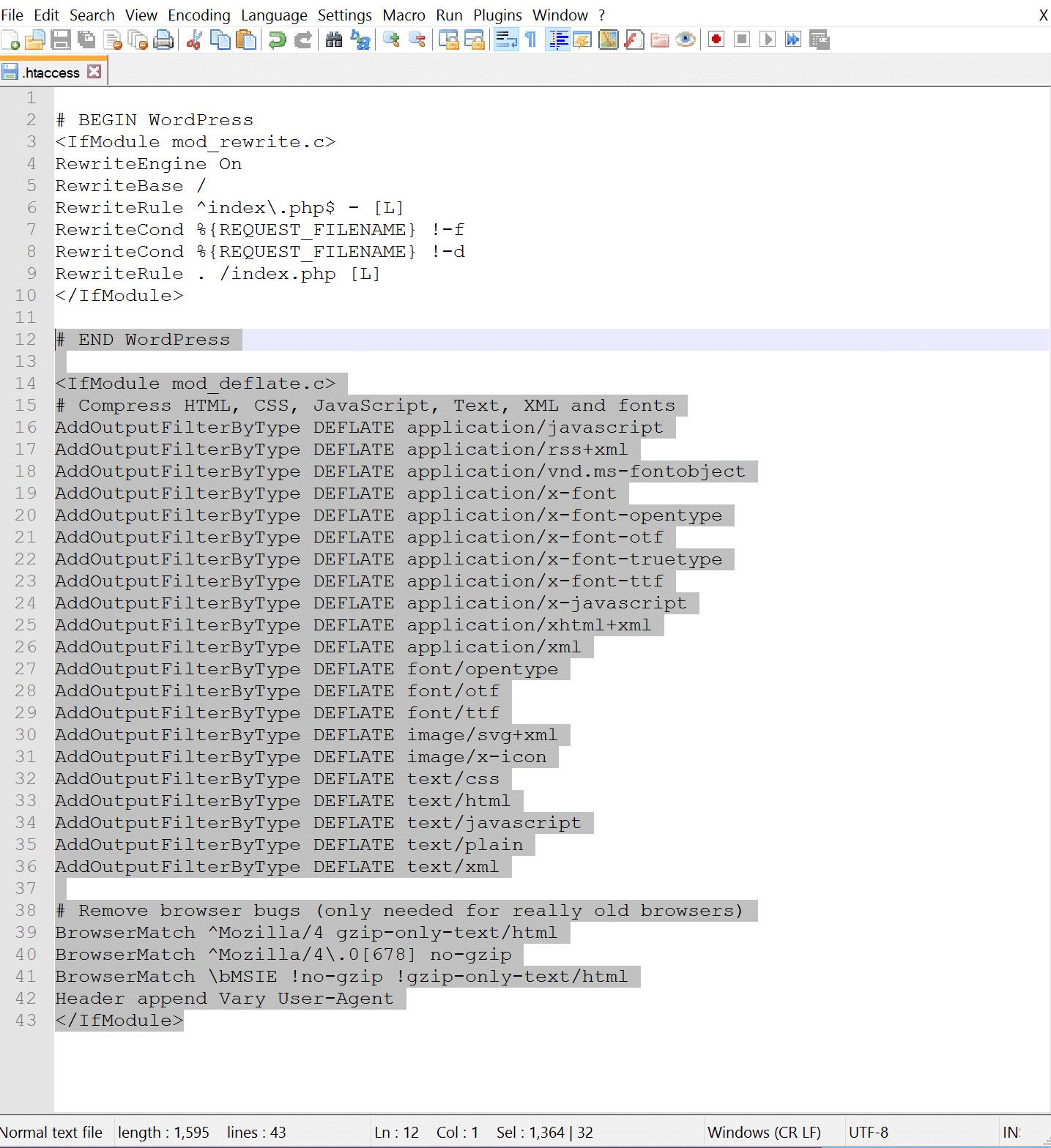 Eksempel på GZIP Apache. Htaccess-kode