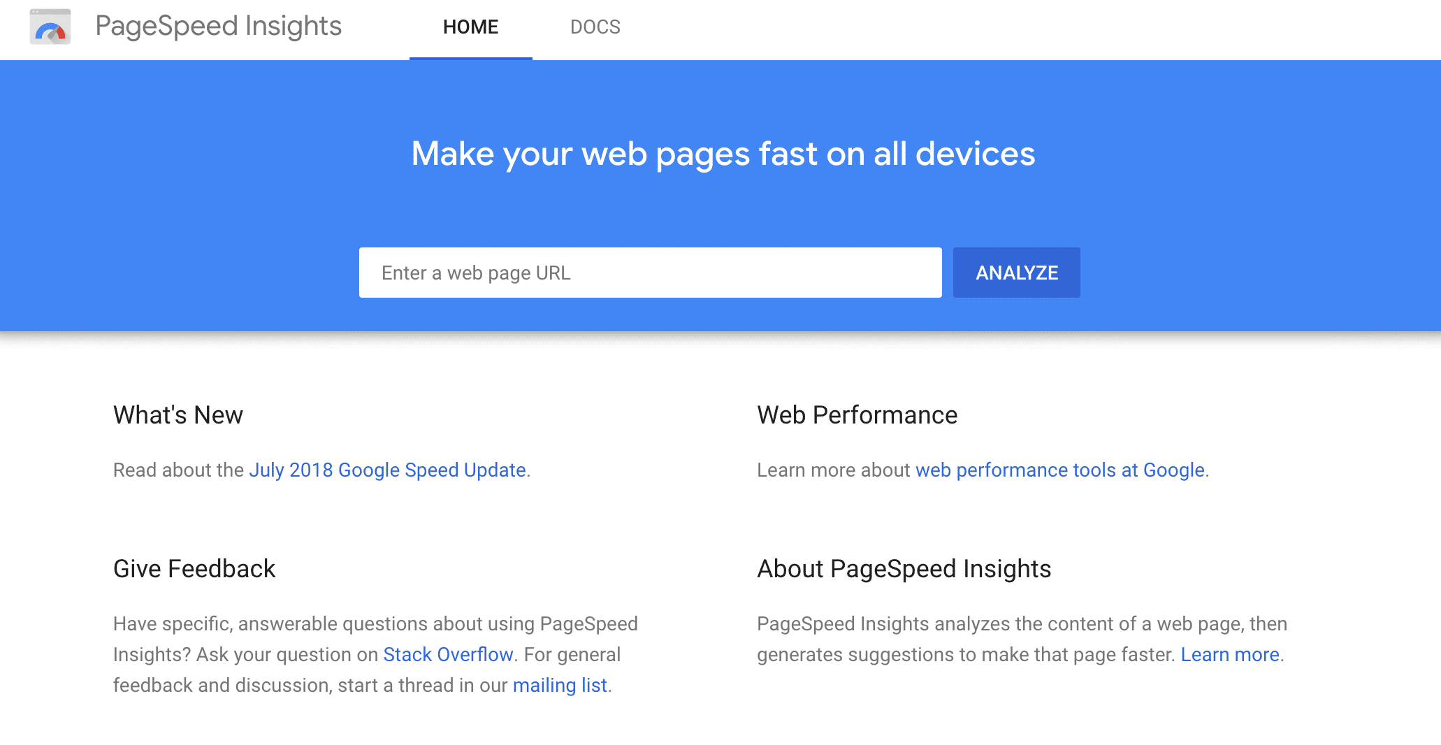 Google PageSpeed Insights-værktøj