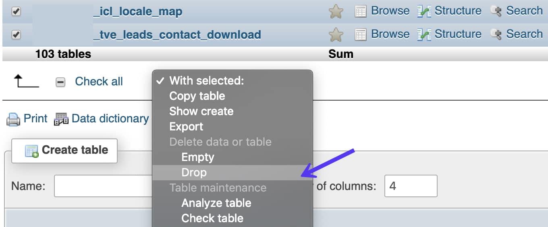 phpMyAdmin drop tabeller