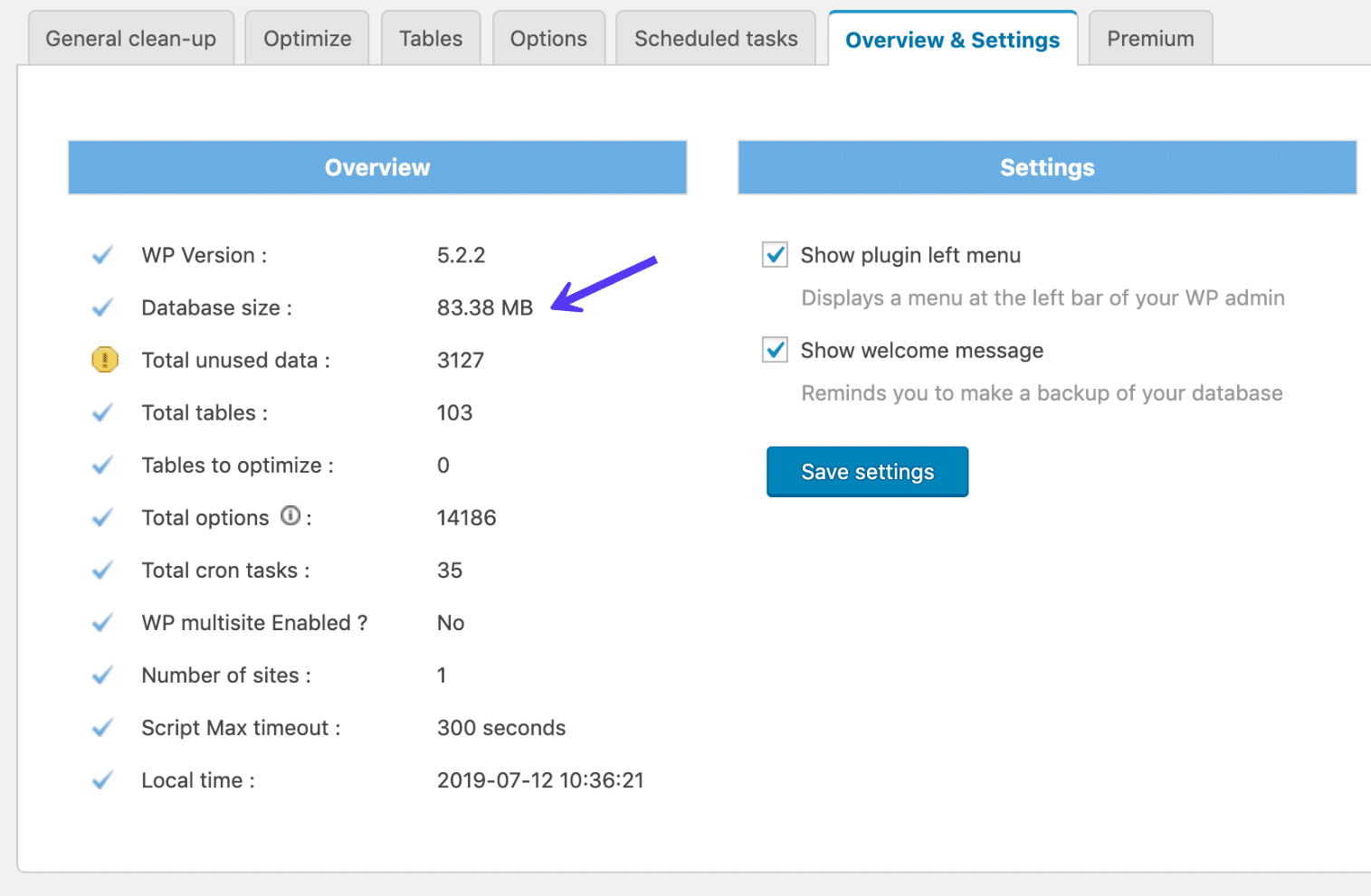 Samlet databasestørrelse i plugin