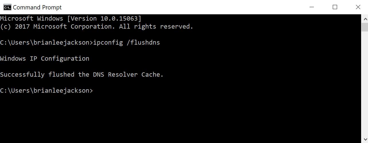 Command prompt - flush DNS