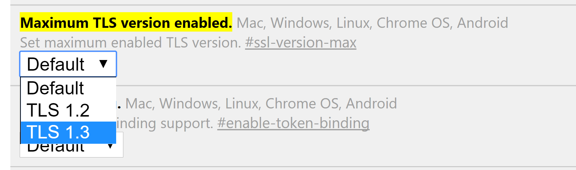Maximum TLS version i Chrome