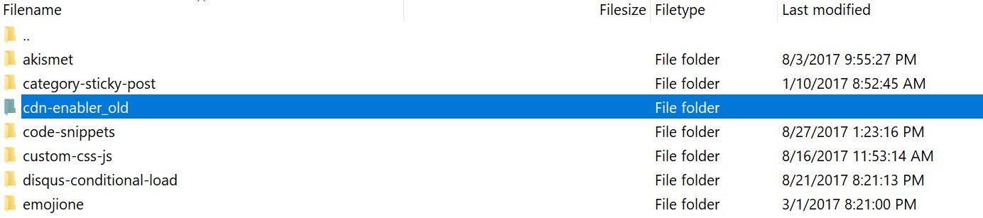 Omdøb pluginmappe midlertidig