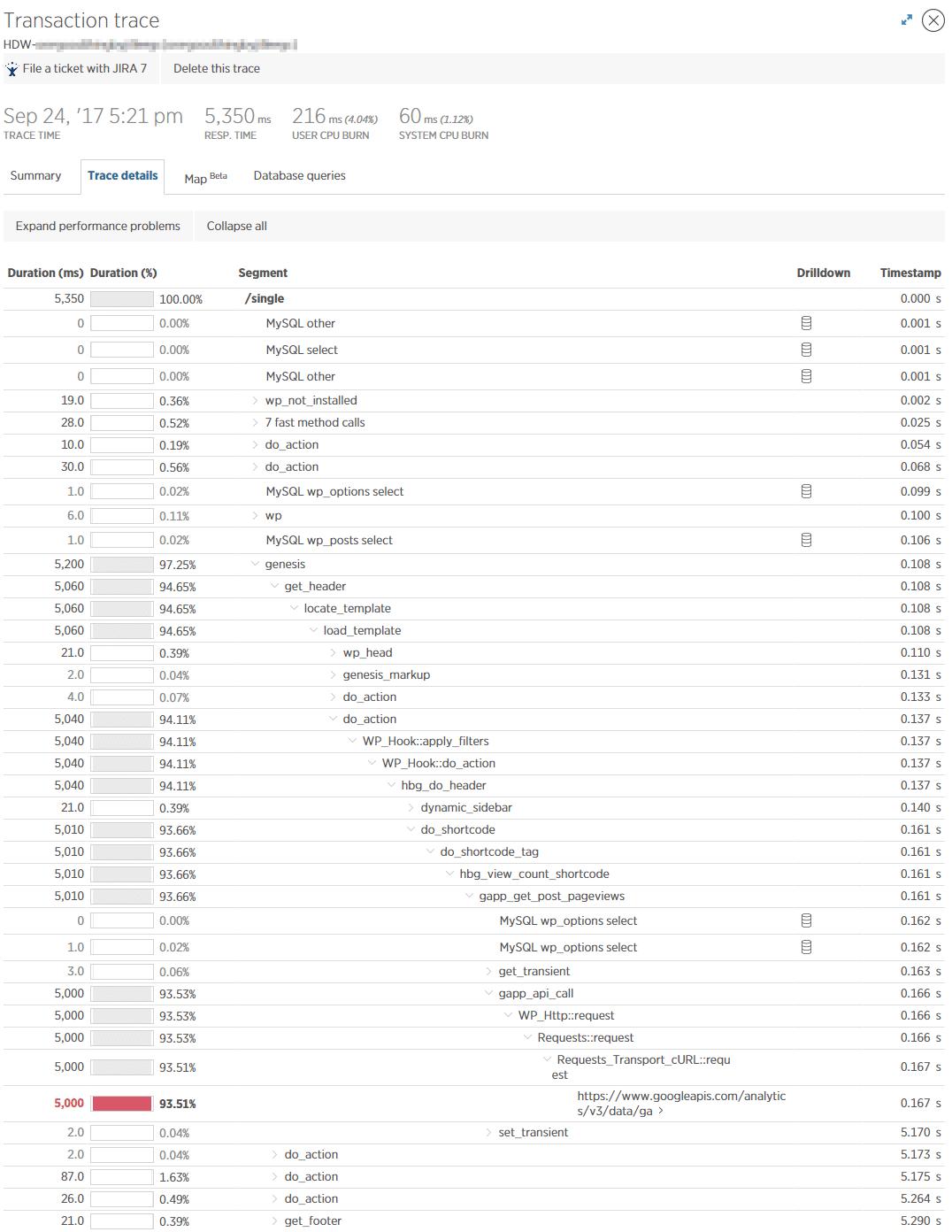 Langsom transaktionsspor detaljer