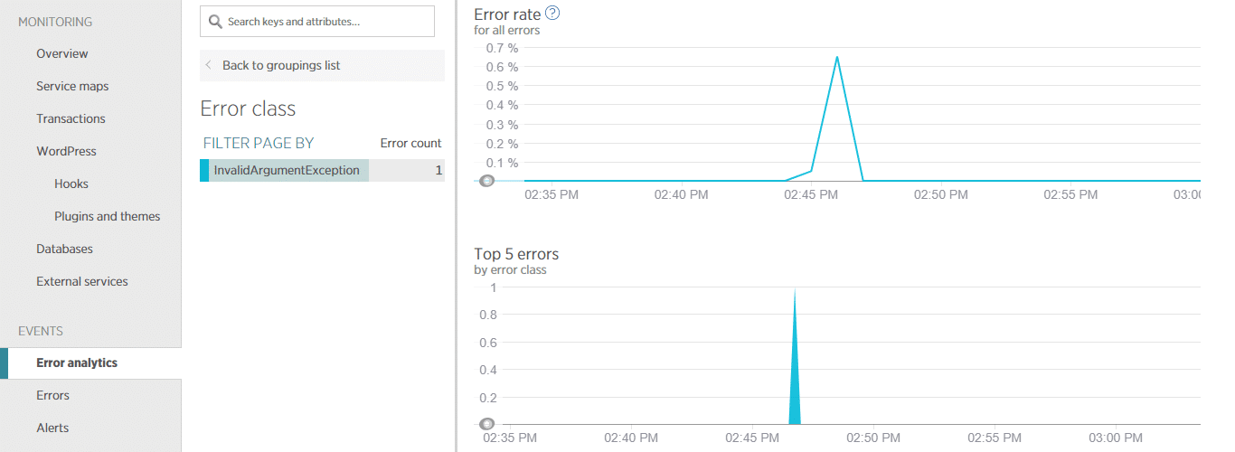 New Relic error analytics